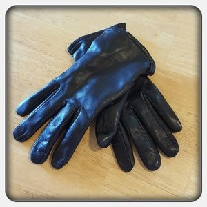 Accessories - Woman's Black Genuine Leather Gloves Size XL